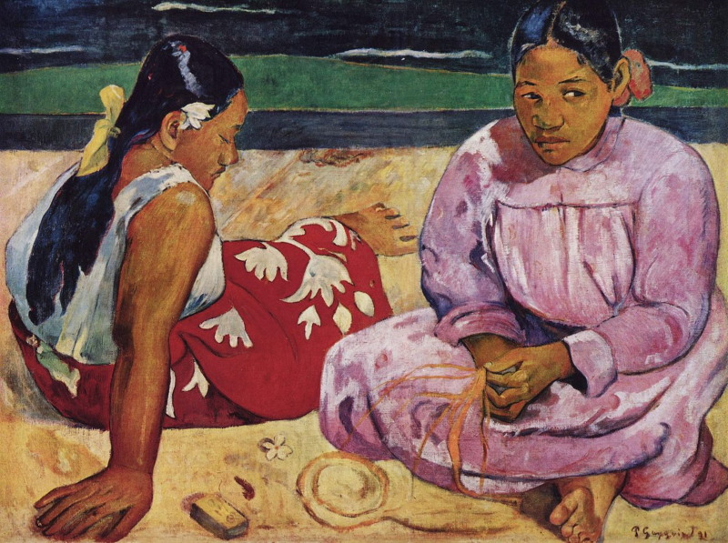 paul Gaugin's 1891 painting, Tahitian Women on the Beach
